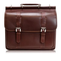 "Signorini 15.4"" Leather Double Compartment Laptop Briefcase"