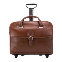 "Carugetto 15.4"" Leather Patented Detachable -Wheeled Laptop Briefcase"