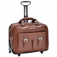 """Ceresola 15.6"""" Leather Checkpoint-Friendly Patented Detachable -Wheeled Laptop Briefcase"""